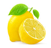 Citron med sidor på vit bakgrund royaltyfria foton