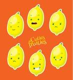 Citron mignon avec différentes émotions Photos libres de droits