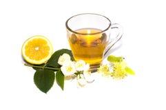 Citron och blomma för limefruktte närliggande Arkivbilder
