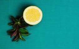 Citron och mintkaramell på blå bakgrund arkivbild