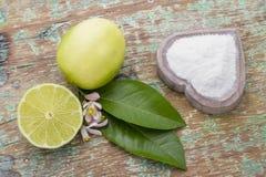 Citron och natriumbikarbonat på tabellen Royaltyfria Foton