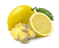 Citron och små stycken av ingefäran på vit bakgrund Royaltyfri Foto