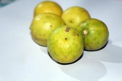 Citron på vita Backbground arkivfoton