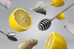 Citron sain avec le concept de thé et de gingembre Photographie stock