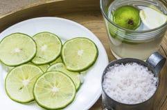 Citron, sel et jus Images stock