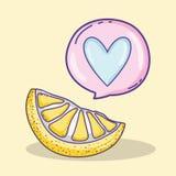 Citron som skivas med hjärtabubblatecknade filmen vektor illustrationer