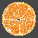 citron une orange dans le style de zentangle Photos libres de droits