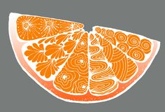 citron une orange dans le style de zentangle Photographie stock