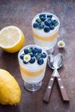 Citronblåbärefterrätt Royaltyfri Fotografi