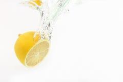 Citrondroppar av vatten på vit bakgrund Fotografering för Bildbyråer