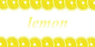 Citronen halverar bakgrund med utrymme för text på en vit backgroun Arkivbild