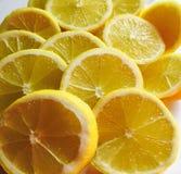 Citronen skivar närbild arkivfoto