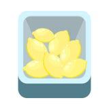 Citroner i Tray Isolated på vit Sötcitronlimefrukt Arkivbild