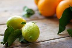 Citroner med apelsiner på tabellen Arkivfoto