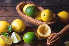 Citroner och limefrukter royaltyfria bilder