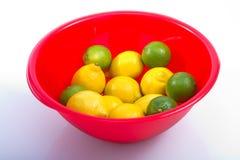 Citroner och röd bunke för limefrukt Royaltyfri Bild