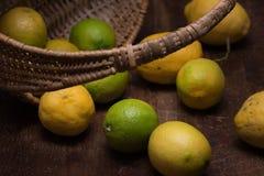 Citroner ut ur en korg Arkivbilder