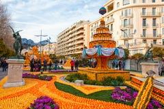 Citronfestival (Stor fest du Sötcitron) i Menton, Frankrike Royaltyfri Bild