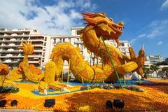 Citronfestival (Stor fest du Sötcitron) i Menton på franska Riviera Arkivbilder