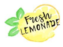 Citronfruktetikett och klistermärke - ny lemonad Arkivfoto
