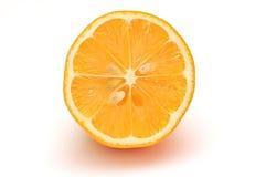 Citronhalva som skivas på den vita bakgrundsobjektillustrationen Fotografering för Bildbyråer