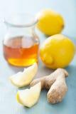 Citroningefära och honung arkivbild