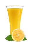 Citronjuice med skivor av citronen i exponeringsglas arkivfoto