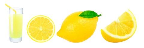 Citronjuice- och citronskivor Royaltyfri Bild