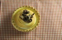 Citronkaka och italienaremaräng som dekoreras med chokladkrullning Royaltyfri Fotografi
