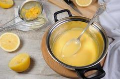 Citronkyrd - vaniljsås på fruktfruktsaft Royaltyfri Foto
