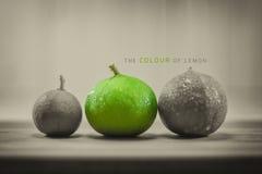Citrons abstraits de couleur sur le rétro style de conseils en bois, police d'utilisation pour Images libres de droits