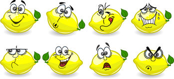 Citrons de dessin animé avec des émotions Photos libres de droits