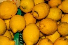 Citrons empilés sur la stalle du marché Photo libre de droits