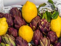 Citrons et artichauts Images libres de droits