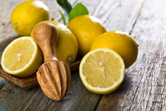 Citrons et presse-fruits photo stock