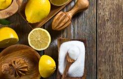 Citrons et presse-fruits images stock