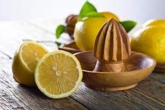 Citrons et presse-fruits image stock
