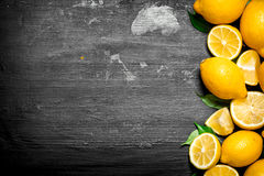 Citrons frais avec les lames vertes Photo stock