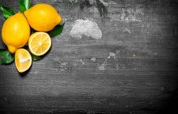 Citrons frais avec les lames vertes Images libres de droits