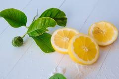 Citrons juteux avec des feuilles sur un fond en bois blanc Citron frais Fond frais d'agrumes images stock