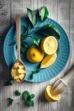 Citronstycken på blåttplattacloseupen royaltyfria foton