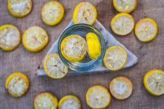 Citronvatten/lemonad med skivor av citroner/citrus Ã- limon Royaltyfri Bild
