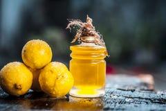 Citrus Ã- limon, citron med citronolja i en genomskinlig flaska Begrepp av hud arkivfoto