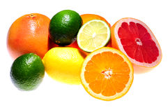 Citrus. Fruits isolated on white background stock photos