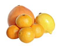 Citrus. Grapefruit, lemon and tangerines on a white background Royalty Free Stock Photo