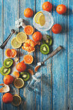 Citrus assorted fruits with refresh drink Stock Image