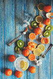 Citrus assorted fruits with refresh drink Royalty Free Stock Images