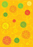Fresh fruits background. A background illustration with fresh fruits and bubbles royalty free illustration