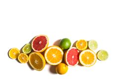 Citrus background. Assorted fresh citrus fruit. Isolated.  stock photography