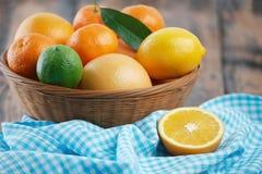 Free Citrus Basket And Napkin Stock Image - 65718491